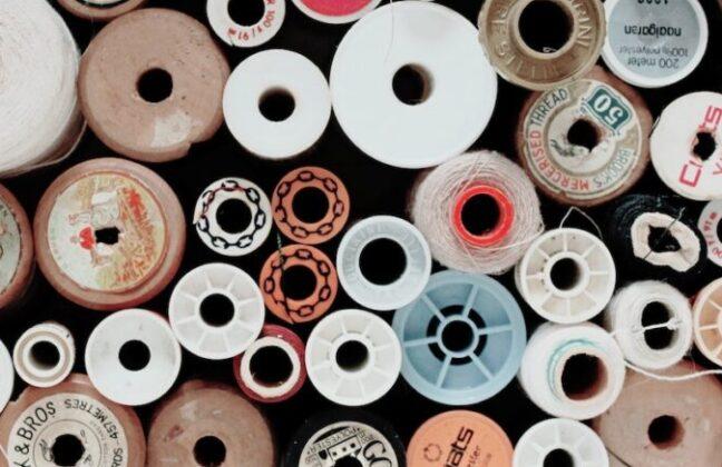 Aerial shot of spools of thread