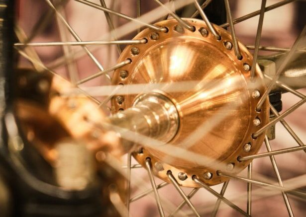 Close up of copper wheel and spokes
