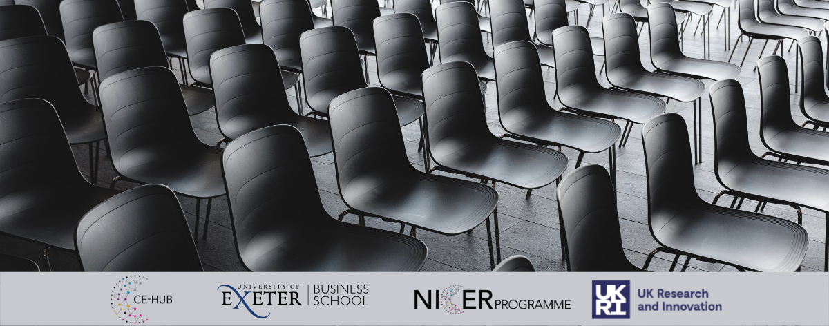 Empty chairs in rows in hall, CE Hub, UEBS, UKRI, NICER Programme logos