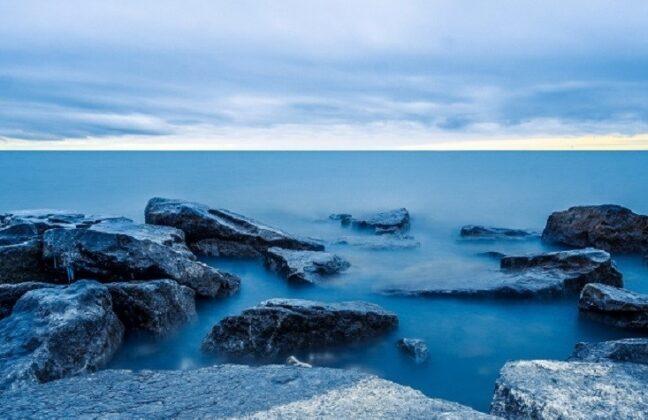 Rocks and ocean at Mississauga, Canada